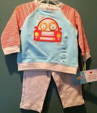 CUTE 'HAPPI' BABY 2-PC OUTFIT LION/CAR MONOGRAM SIZE 6/9 MONTHS