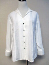 NWT, NORM THOMPSON, SZ L, WHITE PLEATED LONG SLEEVE BUTTON DOWN BLOUSE, SHIRT
