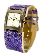 INFINITY:WOMENS' ANTIQUE PURPLE LEATHER BAND RECTANGLE CASE ANALOG QUARTZ WATCH