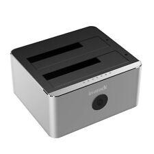 "Inateck USB 3.0 2.5"" 3.5"" SATA SDD HDD Dual Bay Hard Drive Docking Station Clone"