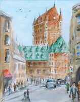 """Chateau Frontenac"" ORIGINAL signed watercolor painting Quebec city archetecture"