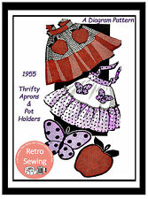 1950's Diagram Pattern for a Half Apron with Pockets Sewing Pattern