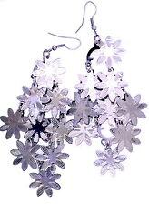 10cm long silvery black coloured five layers flower chandelier earrings