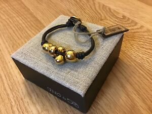 """NWT Uno de 50 Brown Leather Bracelet/Gold Balls """"Ball by Ball"""" $235"""