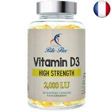 Rite-Flex Vitamine D3 2,000 IU 365 Capsules Molles Supplément 1 par Jour Force