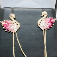 Unique Pink Sapphire Dangle Earrings Women Engagement Jewelry Gift Gold Plated