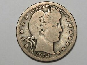 Key-Date 1914-s US Barber Quarter. #243