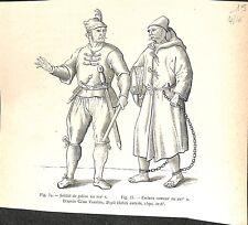 Soldat de galère & Esclave rameur au XVIe siècle de Cesare Vecellio GRAVURE 1888