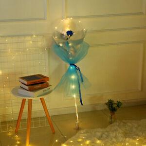 "20""LED Luminous Balloon Transparent Rose Bouquet Bobo Ball Valentine's Day Decor"