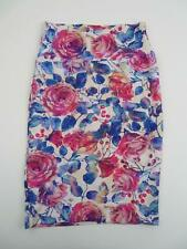 Lularoe Womens Watercolor Roses Cassie Skirt XS Unicorn Floral Blue Pink Pencil
