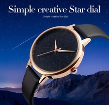 PMCA stars Dial Creative Simple Fashion Quartz Watch Black Leather Strap Water