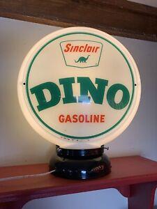 Original Vintage Sinclair  Dino Gas Pump Globe With Original Milk Glass Frame