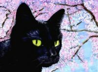 NEW BCB Black Cat Blossoming Cherry Tree Print of Painting ACEO 2.5 x 3.5 Inches