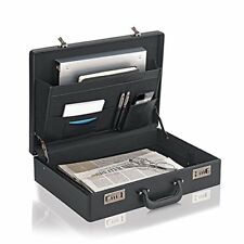 Business Briefcase Bag Hard Case Leather Laptop Portfolio Work Hand Carry Black