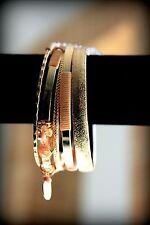 5 Bangles Set Beautiful Beige Ribbon Gold Plated Charm Bangle Bracelet Set