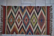 Kilim Rug Hand Made 90x150cm Natural Jute Wool Indian Beige Maroon Diamond 3512