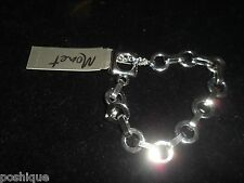 Monet NWT Statement Bracelet Silver Tone Linked Chain Tennis Circle Holiday Cute