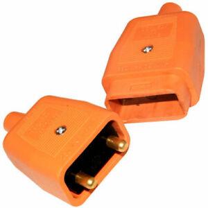 2 Pin 2 Core Orange Flex Connector 10 Amp Garden  Strimmer  Lawnmower etc