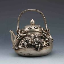 Chinese Tibetan silver Hand-carved  Eight Immortals Teapot W Ming Xuan De gd8958