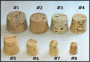 (5) CORKS stopper plug round tapered style crafts fishing lab FREE SHIPPING