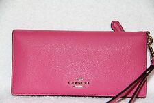 COACH 53759 Slim Colorblock Polished Pebble Leather WALLET Wrislet in Dahilia