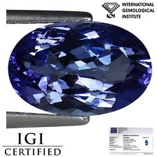 2.01 Ct IGI Certified AA Natural Tanzanite Green Blue Violet Color Oval Cut