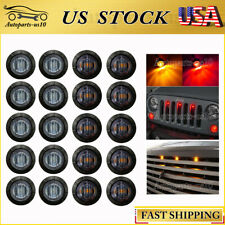 20x Smoked Red Amber 3 LED Universal Auto Grille Light Kit  Front Grill Marker