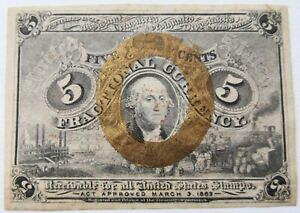 5 Cent Fractional Currency 1863 USA Crisp Paper w/ Minimal Folds Superb LQQKING