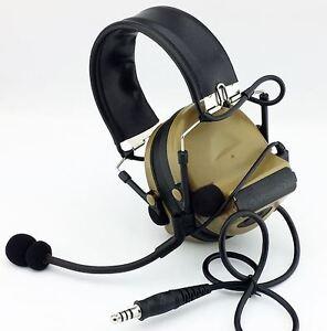 AIRSOFT TOMTAC COMTAC II 2 HEADSET MIC BOOM RADIO PELTOR DESIGN TAN DE