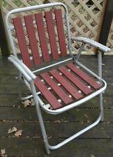 Vintage Aluminum Folding Lawn Chair Red Wood Slats Patio Retro MCM