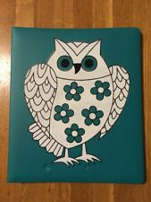 Vintage Owl Scrapbook Album Whimsical Design Teal Turquoise 35 Pages Dry Mount