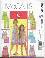 McCalls M5572 Childrens and Girls Top Dress Shorts Pants Size CCE 3 4 5 6 Uncut