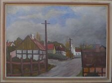 Sconosciuto Pittore -kleinstadtstrasse -ölgemälde circa 1950/60