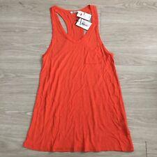 T by Alexander Wang Raceback Tank Top Orange Pocket Shirt Sz Small NWT