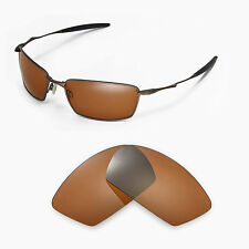 Walleva Polarized Brown Replacement Lenses for Oakley Square Whisker Sunglasses