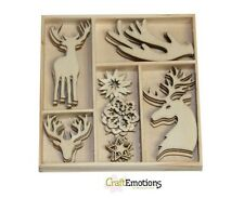 Craft Emotions Caja de 35 Formas Madera Adornos Reno 0141