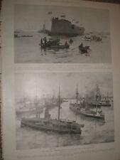 Venta HMS Ajax Agamenón Neptuno y fotografía lanzamiento HMS Suffolk 1903 impresión Ref X