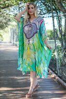 Resort wear Viscose Mid length Kaftan dress heavily embellished Caftan
