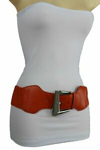 Women Elastic Waistband Casual Fashion Wide Band Belt Big Square Buckle Size S M