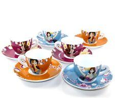 Service à café 6 tasses en porcelaine fine style vintage retro dans boite cadeau