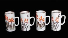 3 Vintage Tall Latte Sponged Floral Speckled Mugs Distressed Top NWOT Japan