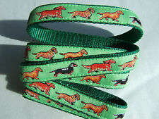MINIATURE DACHSHUND BREED SPECIFIC DESIGNER RIBBON DOG COLLARS or LEADS LEASH
