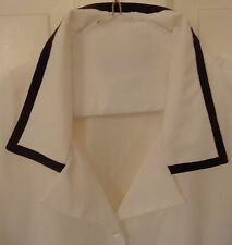 NEW w/ TAGS!  White Blouse w/ Brown Trim Collar Cuffs Long Sleeves 22W  $60!!