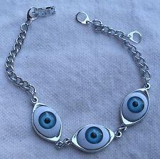Triple Eyeball Link & Chain Bracelet,Blue Iris,silver -locking clasp,adjustable