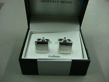 NWT Men's Geoffrey Beene Cuff Links Square Silver Color #331B