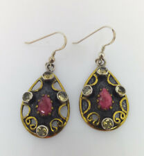 Sterling Silver Teardrop With Ruby And Citrine Drop/Dangle Earring