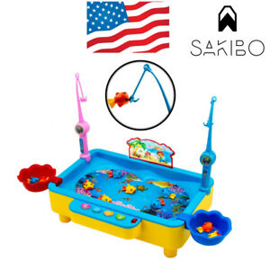 Fishing Game Board Pool Play Set With Sound Music Fish Rods Electromagnetic kids