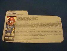 Fast Draw  File Card  GI Joe  1987