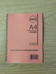 A4 LEDGER BOOK TRIPLE ENTRY-ACCOUNTS BOOK KEEPING LEDGER 50 PAGES