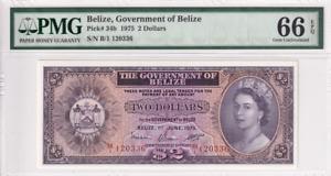 1975 Belize 2 Dollars P-34b  PMG 66 EPQ Gem UNC
